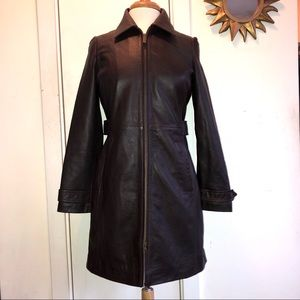 EDDIE BAUER Dark Brown Leather Trench Coat Jacket